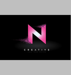 N letter logo with dispersion effect and purple vector