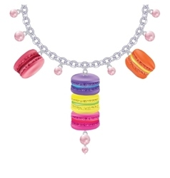 Necklace with macaroon pearls on a silver chain vector