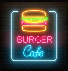 Neon burger cafe glowing signboard on a dark vector