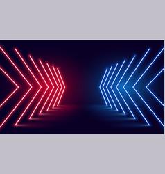 Neon light arrow direction in perspective vector