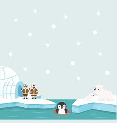 North pole arctic in the ocean background vector
