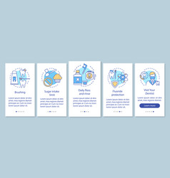 Oral hygiene routine onboarding mobile app page vector