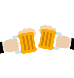 pair of hands holding a pair of beers vector image
