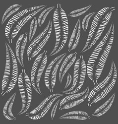 pattern of white feathers on a gray background vector image
