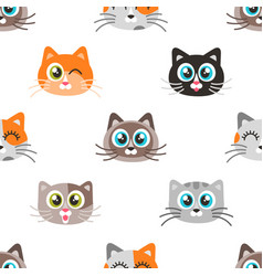 pattern with icons cute cat faces vector image