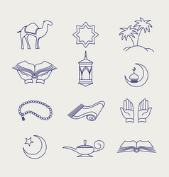 pen arabic muslim line signs vector image