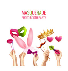 photo booth masquerade background vector image