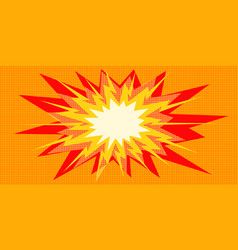 Pop art explosion red yellow in the centre vector