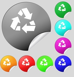 Recycle icon sign Set of eight multi colored round vector