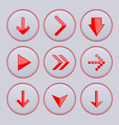 red arrows on gray buttons 3d icons set vector image