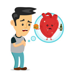 Sad sick young man with heart disease problem vector