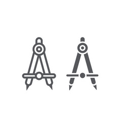 School compass line and glyph icon architect and vector