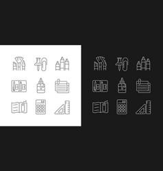 School essential equipment linear icons set vector