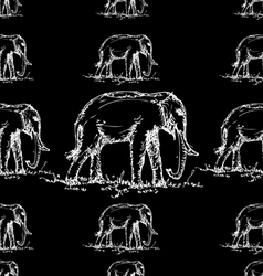 seamless elephant pattern black and white vector image