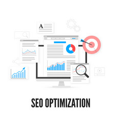 Seo optimization concept web analytics design vector