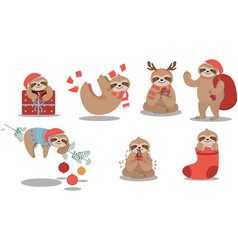 set cute sloth wearing christmas stuffs vector image