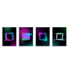 set glitch squares with neon effect design for vector image