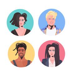 set mix race people profile avatars beautiful man vector image
