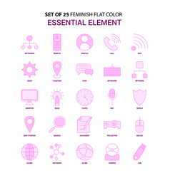 set of 25 feminish essential element flat color vector image