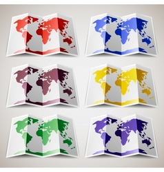Set of colored Maps of the World vector image