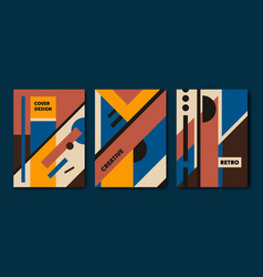 set of retro bauhaus geometric covers use vector image