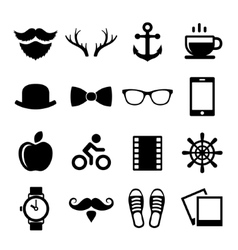 set vintage hipster icons and logos vector image