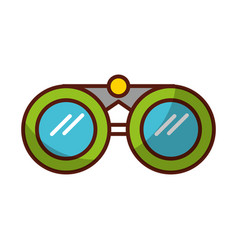 shadow green binoculars cartoon vector image