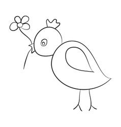 Sketch bird with a flower in its beak vector