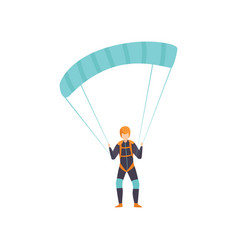 Skydiver flying with a parachute skydiving vector