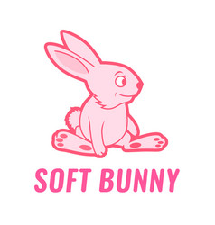 soft toy bunny pink color cartoon vector image