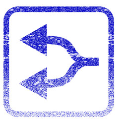 Split arrows left framed textured icon vector