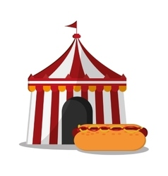 Striped tent of carnival design vector