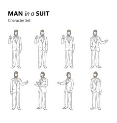 stylized characters set bearded man in a suit vector image