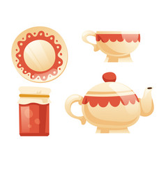 tea set with cup kettle saucer and jam jar vector image