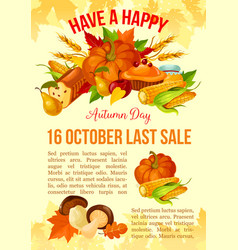 Thanksgiving day banner of autumn sale template vector