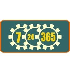 Timing badge symbol 7 24 365 vector