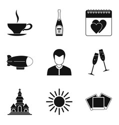 Wedding ritual icons set simple style vector