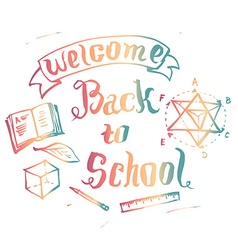Welcome back to school background with educ vector image