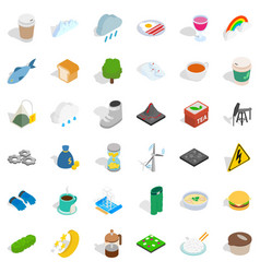 Winter drink icons set isometric style vector