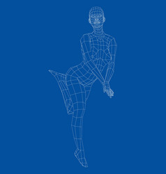 Wireframe girl posing in a sexy pose vector