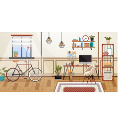 workplace room modern bright interior cabinet vector image
