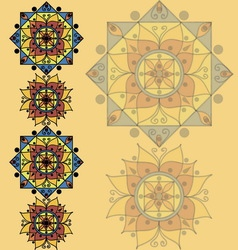 Yellow pattern with mandalas vector image