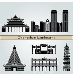 Zhongshan landmarks and monuments vector image