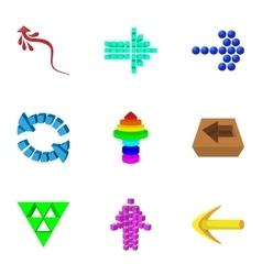 Arrow icons set cartoon style vector