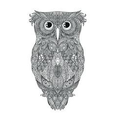 black hand drawn owl tattoo vector image