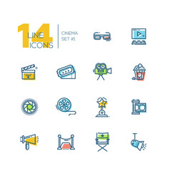 cinema and movie thick line icons set vector image