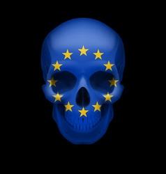 Skull with eu flag vector