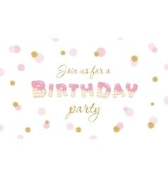 Birthday party invitation on polka dot festive vector