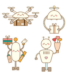 Cute kawaii robots character set delivery drones vector