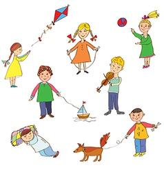 Kids playing cute cartoons vector